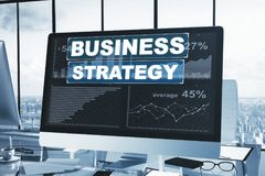 Workplace with business strategy chart. On computer screen. Analysis concept. 3D Rendering Stock Images