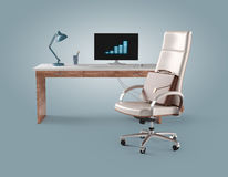 Workplace businessman with chair, computer, table lamp and brief Royalty Free Stock Images