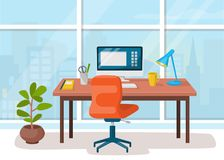 Workplace, cabinet, office. Workspace with table and computer Royalty Free Stock Image