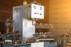 Close-up of a metal equipment stock photography