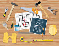 Workplace carpenter. projecting, building, repair. Workplace of a carpenter. projecting, building, repair. vector illustration in flat style Royalty Free Stock Photography