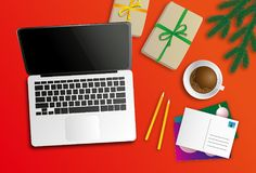 A workplace at christmas time. Workplace at christmas time, drinking coffee and writing postcards, preparing gifts stock illustration