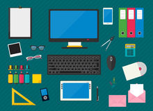 Workplace with computer devices Royalty Free Stock Photography