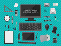 Workplace with computer devices, office objects and business  documents Royalty Free Stock Images