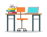 Workplace with Computer and Docs Flat Style Vector. Workplace vector illustration in flat style. Modern office furniture. Table, chair, laptop, binders, cup Royalty Free Stock Image