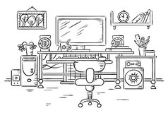 Workplace with a computer table Royalty Free Stock Photo
