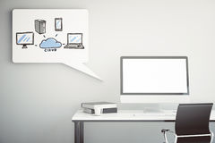 Workplace with computing system sketch Royalty Free Stock Photo