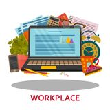 Workplace concept in flat style. Modern design for web banners, web sites, infographic Stock Photo