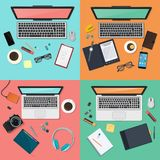 Workplace concept set. Modern gatgets top view. Flat design vector illustration. Workplace concept set. Modern gatgets top view. Flat design vector illustration Royalty Free Stock Images