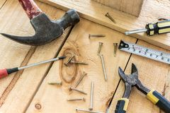 Workplace with construction tools. Workplace with a construction tools Royalty Free Stock Images