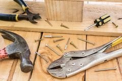 Workplace with construction tools. On wood Stock Photos