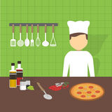 Workplace cook, vector illustration Royalty Free Stock Photo