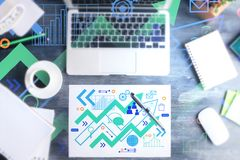 Workplace with creative business sketch. Supplies and devices. Workshop and success concept. Double exposure Stock Images