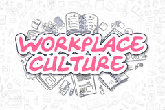 Workplace Culture - Doodle Magenta Text. Business Concept. Workplace Culture Doodle Illustration of Magenta Word and Stationery Surrounded by Doodle Icons Royalty Free Stock Photography