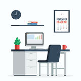 Workplace deadline concept. Workplace with computer, clock and poster remember the deadline a Cup of coffee and plants for Desk, home office. Trendy flat design Stock Image
