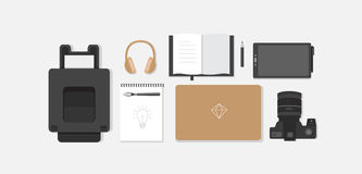 Workplace of the designer. Banner workplace for the website and mobile design. Workplace of the designer. Vector flat illustration of work place in the office Royalty Free Stock Photo