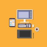 Workplace designer computer tablet flat icon Stock Image
