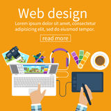 Workplace of  designer. Creative worker. Designer items, tools, equipment. Flat design style. Vector illustration. Designer draws on tablet. Concept graphic Stock Photo
