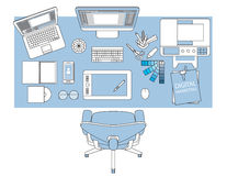 Workplace of designer with devices for work,Flat designed banner Stock Photos