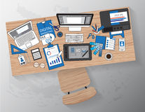 Workplace of designer with devices for work,Flat designed banner Stock Photography