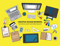 Workplace of designer with devices for work,Flat designed banner. S for creative project, graphic design development, business, finance Stock Photo