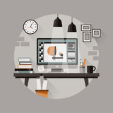 Workplace of designer in flat design Royalty Free Stock Photo