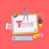 Workplace of a designer Flat design style modern vector illustration. Icons Stock Image
