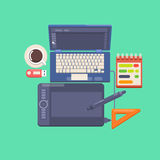 Workplace of a designer Flat design style modern vector illustration icons. Set Royalty Free Stock Photography