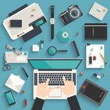 Workplace of a designer. Flat style modern design concept of creative workplace of a designer. Icon set of business work flow items and elements, office things Royalty Free Stock Photos