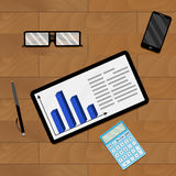 Workplace desk with chart. Accounting and economy statistic, vector illustration Royalty Free Stock Photography