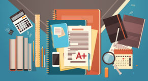Workplace Desk Documents Papers Folder Office Stuff Top Angle View Copy Space. Flat Vector Illustration Royalty Free Stock Images