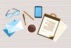 Workplace Desk Documents Papers Office Stuff Top Angle View. Flat Vector Illustration Royalty Free Stock Photography