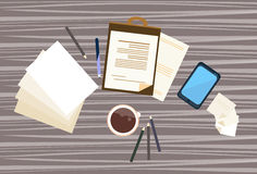 Workplace Desk Documents Papers Office Stuff Top Angle View. Flat Vector Illustration Stock Photography