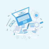 Workplace Desk Laptop Computer Notebook Coffee Top Angle View Royalty Free Stock Images