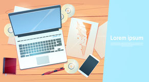 Workplace Desk Laptop Finance Documents Papers Office Stuff Top Angle View. Flat Vector Illustration Royalty Free Stock Image