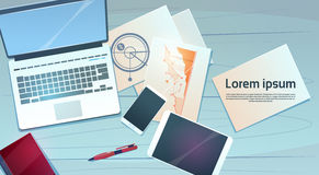 Workplace Desk Laptop Finance Documents Papers Office Stuff Top Angle View. Flat Vector Illustration Stock Photography