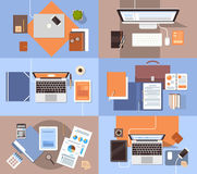 Workplace Desk Set Top Angle View Tablet Laptop Computer With Paper Documents Reports Finance Graph. Flat Vector Illustration Stock Image