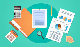 Workplace Desk Top Angle View Tablet Computer With Paper Documents Reports Finance Graph. Flat Vector Illustration Royalty Free Stock Photo