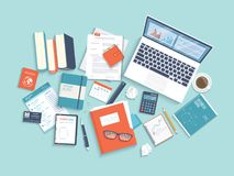 Workplace Desktop background. Top view of laptop, books, folder with documents, purse, calendar, crumpled paper. Vector Stock Photo