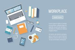 Workplace Desktop background. Top view of table, laptop, books, folder with documents. Vector Stock Photography