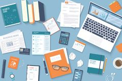 Workplace Desktop background. Top view of table, laptop, business card, purse, headphones ,crumpled paper. Business background. Organization. Vector Stock Photos