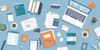 Workplace Desktop background. Top view of table, laptop, folder documents, notepad, business card. Business background. Organization Royalty Free Stock Photos