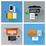 Workplace with digital devices top view icon set Stock Photography