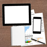 Workplace with digital tablet and phone Stock Image