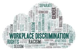 Workplace Discrimination - type of discrimination - word cloud royalty free illustration