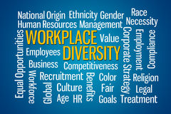 Workplace Diversity. Word cloud on Blue Background vector illustration