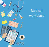 Workplace doctor at table. Royalty Free Stock Photography