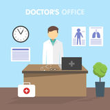 Workplace doctor, vector illustration Royalty Free Stock Photography