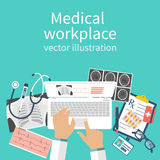 Workplace doctor vector Royalty Free Stock Image