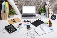 Workplace with electronic devices Royalty Free Stock Photo